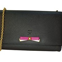 MCM Crossbody Black Pink Leather Wallet Chain Large Handbag New