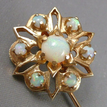 Gold Opal Stickpin, Vintage 14K Gold And Opal Stickpin, Large Gold Opal Stick Pin Stickpin