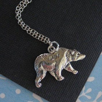 Bear Necklace, Bear Pendant, Bear Charm Necklace, Bear Jewelry, STERLING SILVER, Wildlife, Polar Bear, Gift for Daughter, Woodland Jewelry