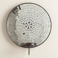 Round Mosaic Mirror Pillar Sconce - World Market
