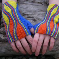 Bright-colored hand knit wristwarmers,Fingerless wool gloves,Hand warmers,Arm warmers