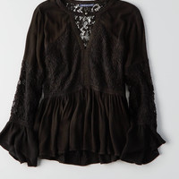 AEO Lace + Bar Swing Top, Black