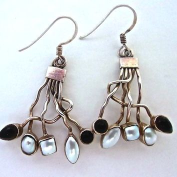 Sterling Silver Modernist Smoky Quartz Pearl Earrings, Dangle, Hand Crafted Artisan, Vintage