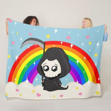 Cute Grim Reaper Fleece Blanket