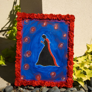 "FREE SHIPPING  ""Snow White""  Acrylic Silhouette Painting of Snow White Holding the Poisonous Apple"