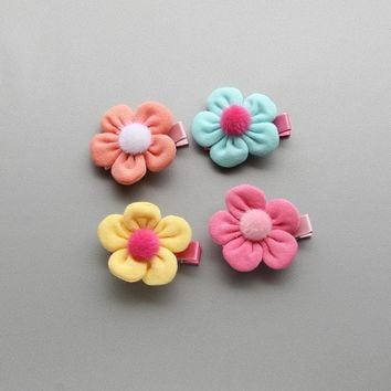 New 1pc Baby Girls Knitted Flower Hairpins Barrettes Children Hair Accessories Ornaments Hair clip for Princess Dress