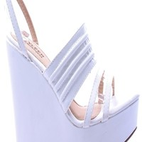 WHITE FAUX LEATHER OPEN TOE ANKLE STRAP PLATFORM WEDGE