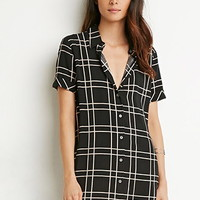 Grid-Patterned Shirt Dress