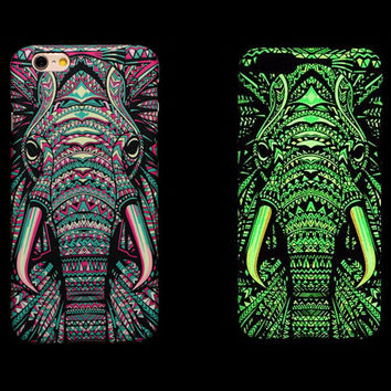 So Cool Night King Elephant Animal Handmade Carving Luminous Light Up iPhone creative cases for 5S 6 6S Plus Free Shipping