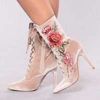 Parkside Wind Floral Embroidered Lace Up Bootie