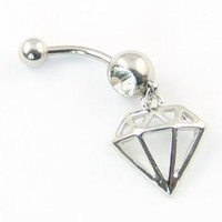 316L Surgical Steel 14G Diamond-shaped Taper Hollow Dangle Navel Belly Ring Body Piercing