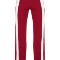 Maroon Contrast Panel Wide Leg Trousers