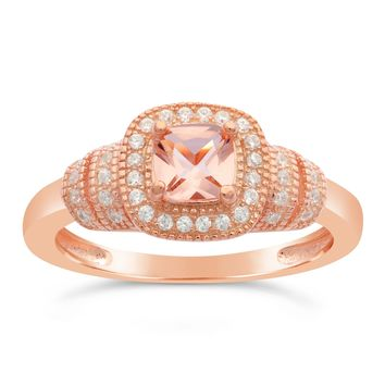 Pink Plated Sterling Silver Morganite Cushion Cubic Zirconium Ring