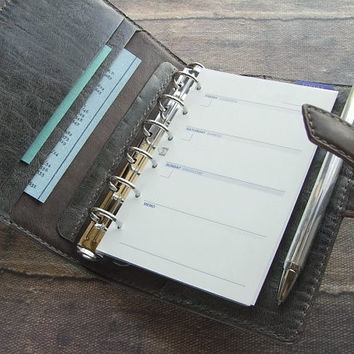 handstitched leather binder - charcoal gray, oiled, natural shrink - leather planner, leather organizer, leather diary, pocket planner