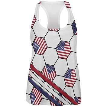 4th of July USA World Cup Soccer Ball All Over Womens Work Out Tank Top