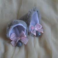 Kitten play clip on wolf cat ears with ribbon bows and bell - neko lolita cosplay costume - kitten play gear accessories - grey and pink