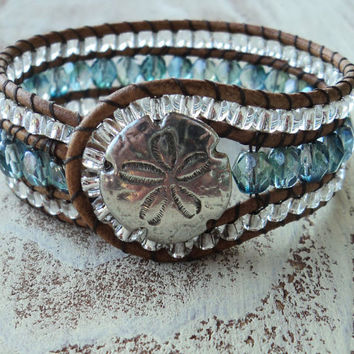Beaded Cuff Bracelet, Blue and Silver Cuff, Cowgirl Jewelry, Country Western Style, Boho Bohemian, Leather Wrap Bracelet, Sand dollar, Beach