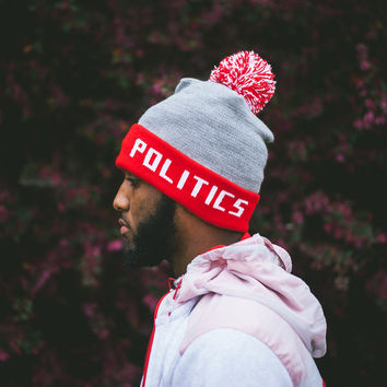 Politics Simple Beanie w/ Pom - Red/Grey