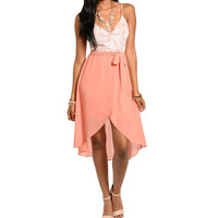 Spaghetti Strap Asymmetric Hem Dress in Coral