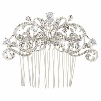 Bella Fashion Vintage Style Bridal Hair Comb Zircon Flower Hairpin Crystal Wedding Accessories for Women