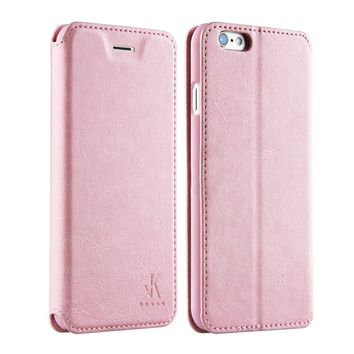 For Apple iphone 6 6s Leather Case,4.7 inch Protective Folio Case Flip Cover Back Stand(Pink)