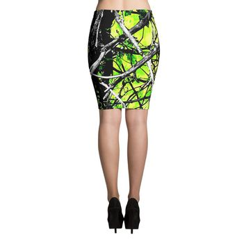 Neon Green Camo Short Skirt