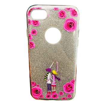 iPhone 6/6s/7/8 Case Pink Rose Couple Print Glitter Sparkle Bling Wireless Charging Support High Shock Protection Apple Case Cover Pink