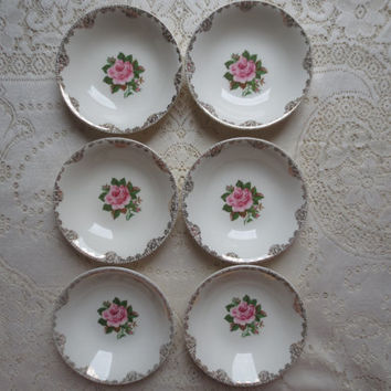 Set of 6 Vintage Paden City Pottery American Rose Berry Bowls.  Dessert Bowls, Sauce Bowls. Rose Bridesmaid Gift