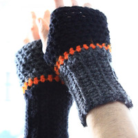 The Aeolus fingerless gloves fashion for him in dark grey black and a touch of bright color gift under 20