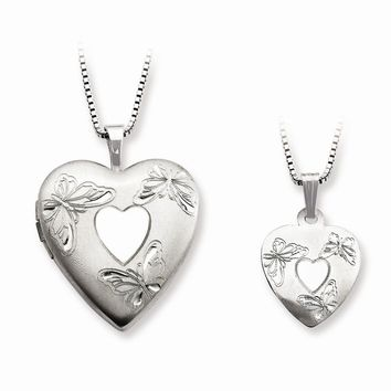 Sterling Silver Polished Satin Butterfly Heart Mom Locket & Daughter Pendant Set