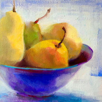 "Still Life Fruit Pears Unframed 8""H x 8""W - Original Oil Painting by Tina Wassel Keck - Oil on canvas on panel - ""Four Pears?"""