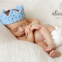 Baby adjustable crown for Boy .. Prince Crochet crown photo prop