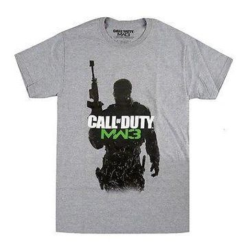 Call of Duty Modern Warefare 3 Soldier  Adult T-Shirt Gray