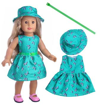 Green 1set=Hat+Dress+belt Clothes For American Girl Doll 18 Inch Doll Clothes And Accessories LT1151