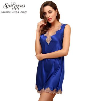 New Design Women Lace Nightgown Summer Ladies Dressing Gown V Sexy Female Short Nightie Sleep Dress