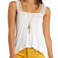 Crochet-Strap Knit Swing Top by Charlotte Russe