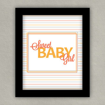 Nursery Decor Art Print - Sweet Baby Girl - Orange Pink Gray, 8x10