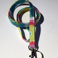 Lanyard  ID Badge Holder - NEW THINNER design - summer flowers - Lobster clasp and key ring coworker gift