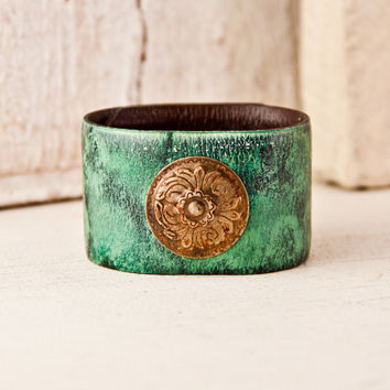 Turquoise Jewelry Trends Leather Cuffs Bracelets Wristbands Jewelry Bohemian Eco Friendly Upcycled Gypsy Hippie New Year 2014 On Sale
