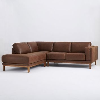 Dekalb 3-Piece Premium Leather Terminal Chaise Sectional