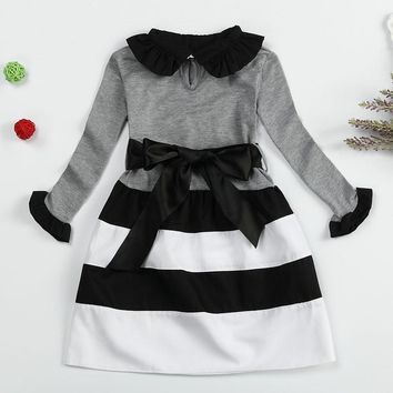 Autumn Baby Girl Dress Long Sleeve Baby Kids Clothes Girls Tutu Dress Stripe Dresses For Girl School Wear Toddler Infant Costume