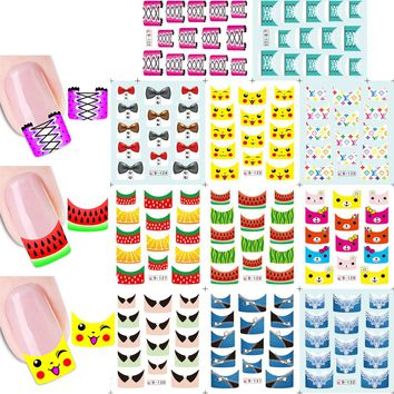 1sets 11 designs Lovely Cartoon Zipper Nail Art Stickers Water Transfer Decals French Tips Manicure Styling Tools B122-132
