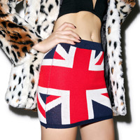 Classic Union Jack Knit Skirt Red