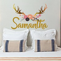 "Girl Name Wall Decal Nursery Vinyl Sticker Personalized Decals Flowers Antlers Deer Rustic Decor Hunting Home Childrens Bedroom NS2004 (17"" Tall (Wide depends on name))"