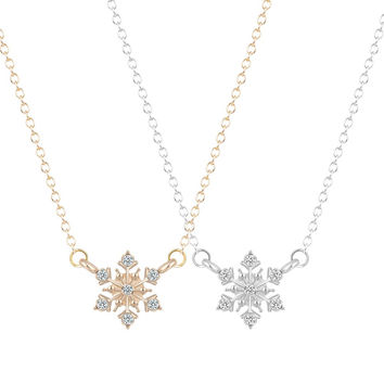 Hot Fashion Unique Snowflake Necklace&Pendants Gift for Women and Girls Winter Christmas Silver Necklace Pendant Jewelry