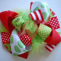 boutique MINI MOD GRINCHY Christmas hair bow clip