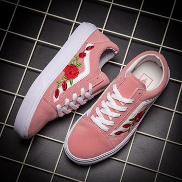 CREYONS Vans Classics Old Skool Rose Floral Embroidered Sneaker Women Casual Shoes