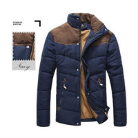 Mens Stand Collar Puffer Jacket in Navy Blue