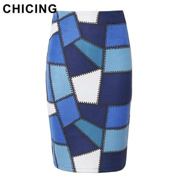 CHICING 2016 Women Spliced Square Midi Pencil Skirt Zipper New Autumn Causal Sexy Style Bodycon Tube Saia Femininas A1609015