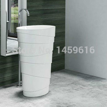 Round Bathroom Stone Resin Pedestal Washbasin Cloakroom Solid Surface Stone standing Vanity Sink W9006